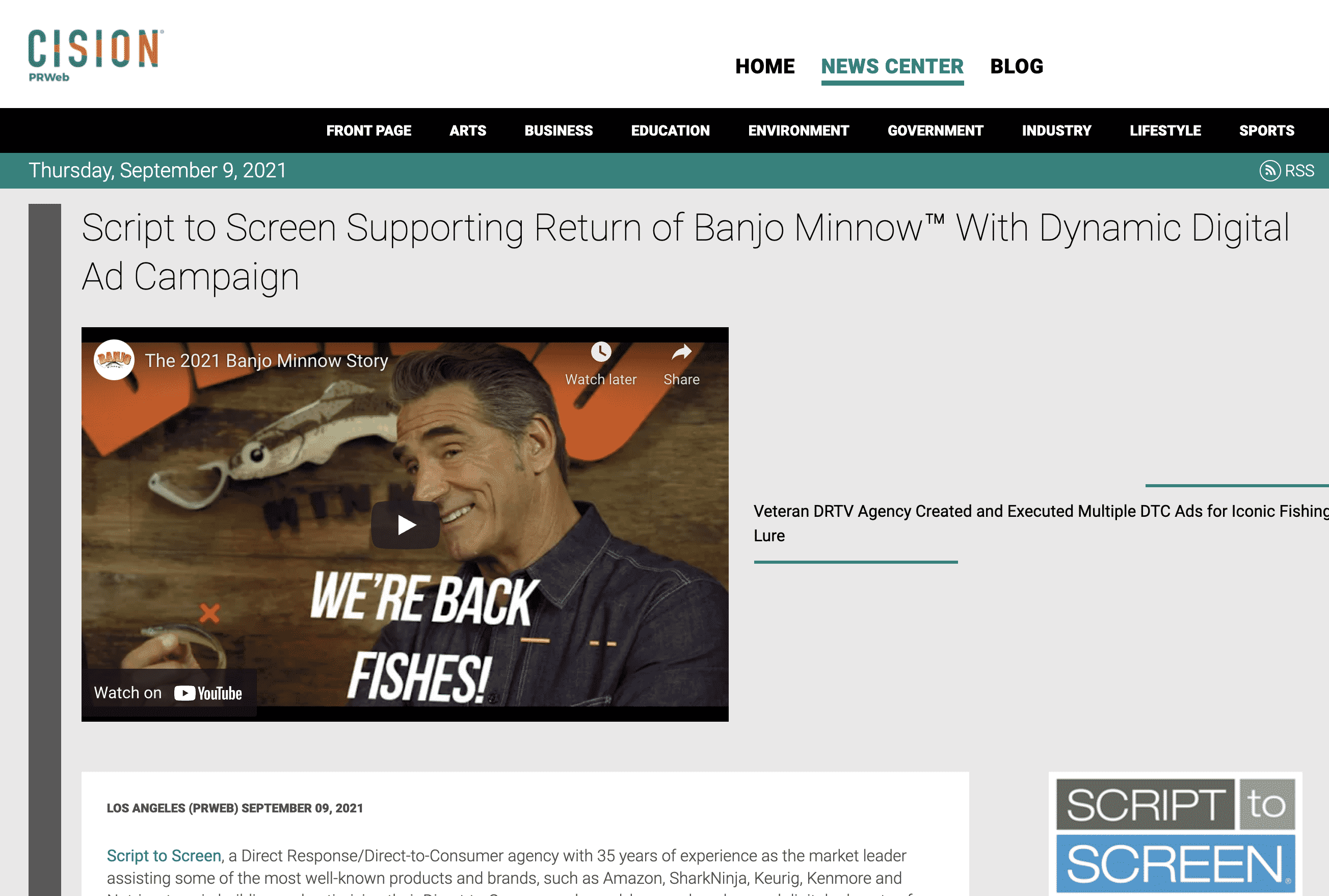 Script to Screen Supporting Return of Banjo Minnow™ With Dynamic Digital Ad Campaign