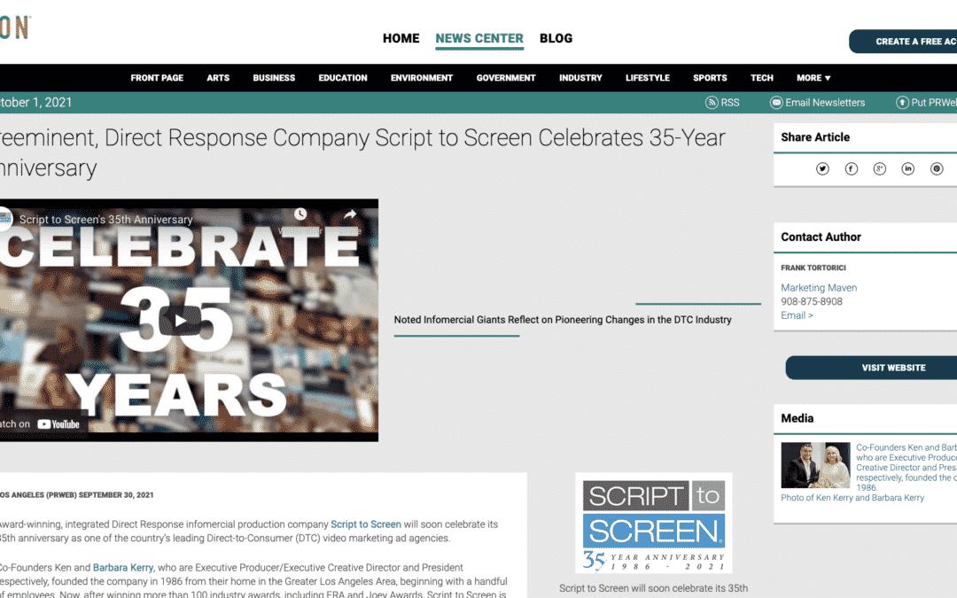 Preeminent, Direct Response Company Script to Screen Celebrates 35-Year Anniversary